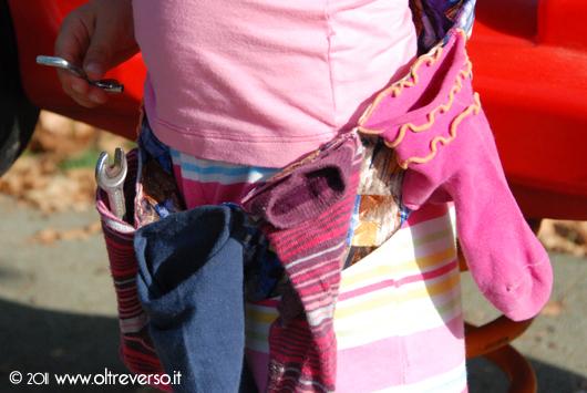 cintura ttrezzi bambini riciclo calzini e cravatta