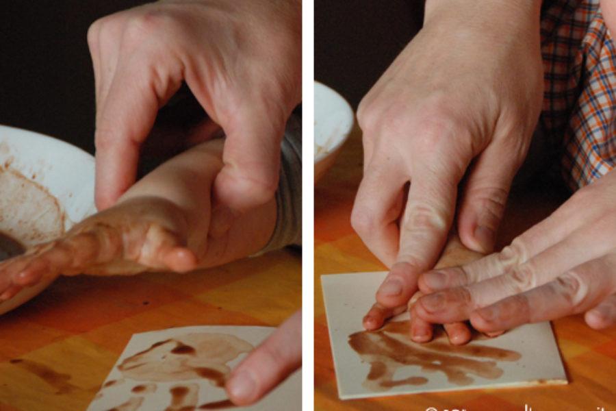 Dipingere con il cacao gli auguri di Natale