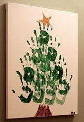 Albero di natale con le impronte delle mani