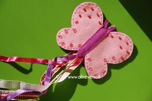 Bacchetta magica a forma di farfalla in feltro per Carnevale