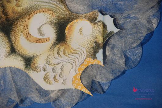 Collage cielo per libro pop up handmade Camilla da Compostela