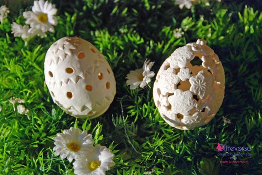 Uova di pasqua in fimo effetto traforato tutorial - Uova di pasqua decorati ...