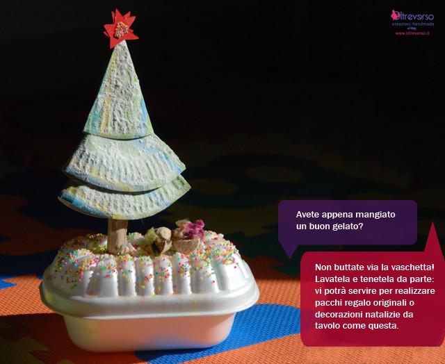 albero di Natale da scrivania fai da te realizzato riciclando la vaschetta del gelato