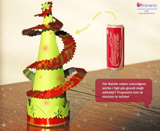 albero di Natale fai da te realizzato riciclando una lattina di Coca Cola