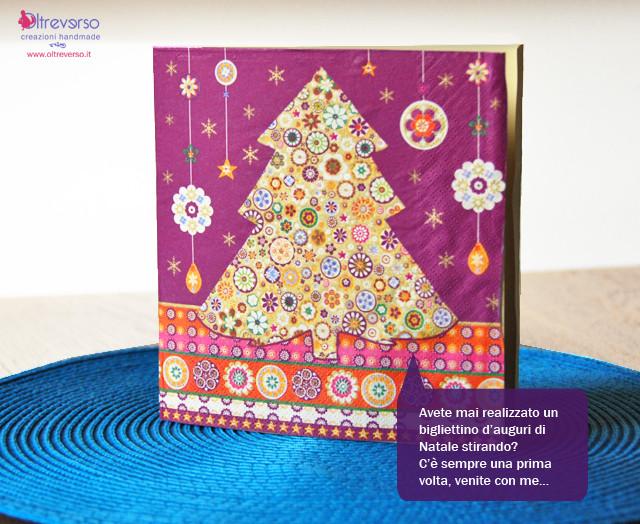 tutorial per biglietti d'auguri di Natale con tovaglioli e decoupage