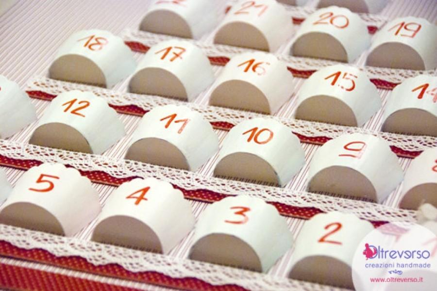 Il calendario dell'avvento fai-da-te come un'alzatina per dolci con i pirottini dei muffin
