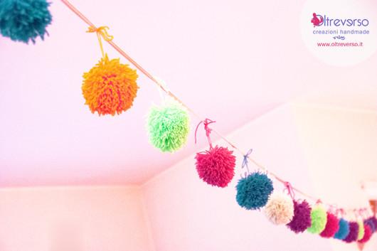 ghirlanda pompom lana gomitoli garlands idee faidate feste gift box e pom pom