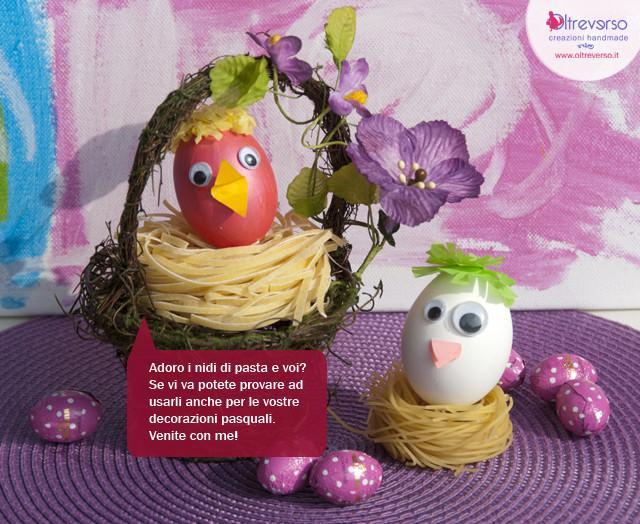 Un nido di pasta per l 39 uovo di pasqua il tutorial - Decorazioni uova pasquali per bambini ...