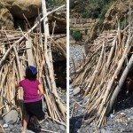 capanna con le canne di bambù e i legnetti trovati sulla spiaggia