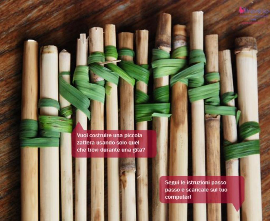 zattera con bambù e fili d'erba