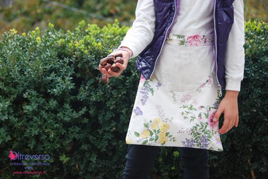 grembiule raccolta castagne handmade diy cucito creativo