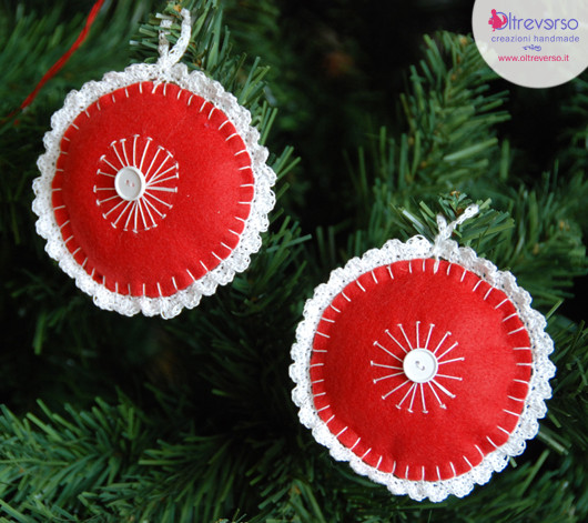 palle di Natale pannolenci handmade uncinetto