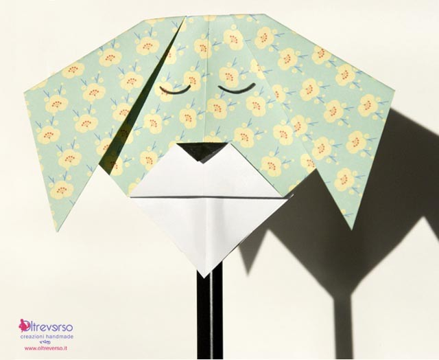 maschera origami a bastoncino per bambini
