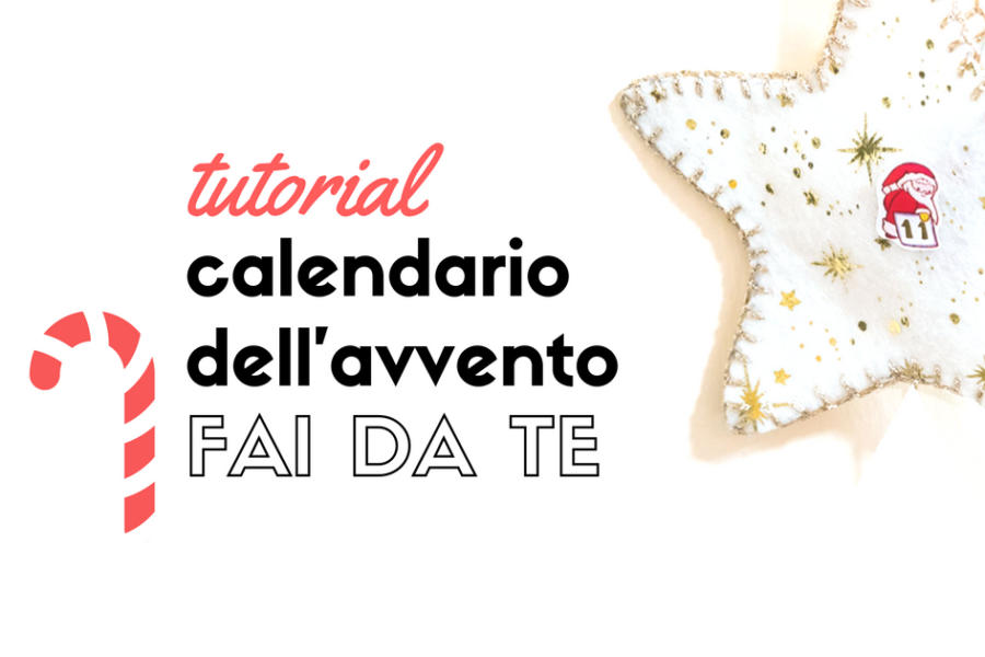 Calendario dell'avvento fai da te in feltro per Natale con tutorial