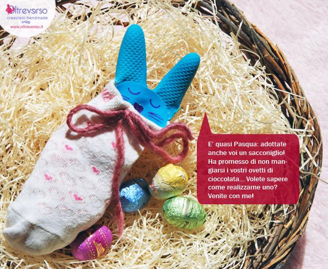 sacchetto a coniglio per ovetti di cioccolata