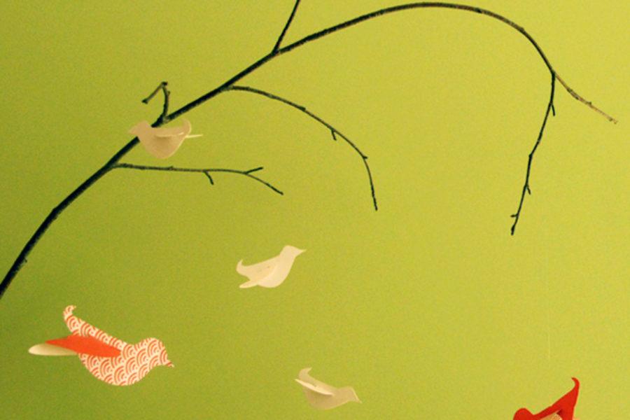 Bird mobile craft e card di auguri con uccellini