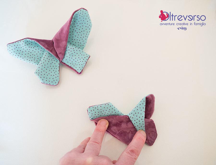 farfalla origami stoffa tutorial piegature