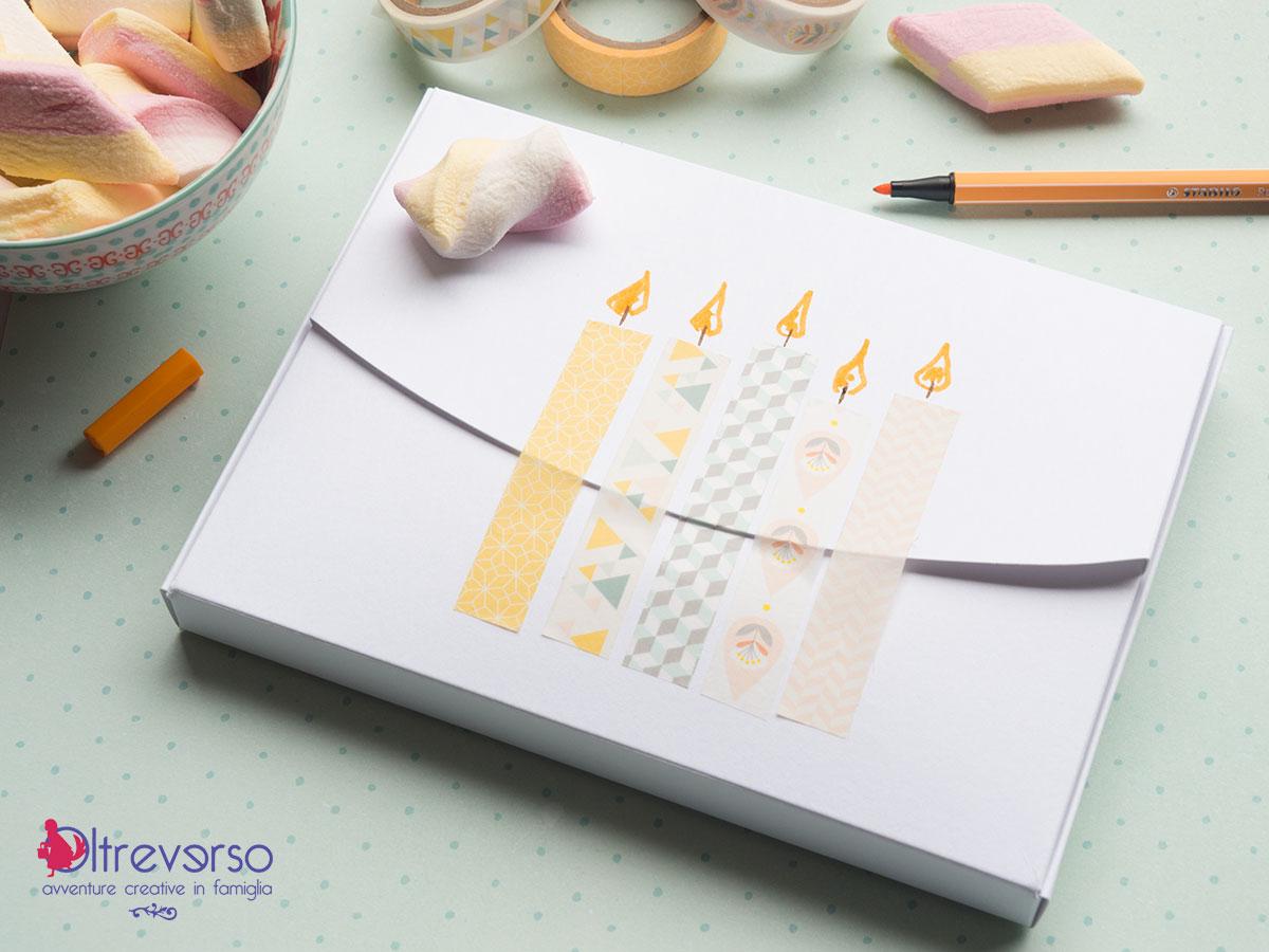 scatole di cartone regalo compleanno candeline washi tape
